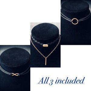 3 chokers black with gold accents brand new